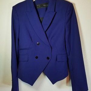Zara cropped double breasted blazer royal blue. Sm
